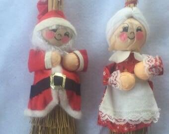 Santa and Mrs. Claus Christmas Brooms