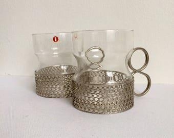 Iittala Finland Tsaikka Tea Glasses, Silver Metal Holders, Timo Sarpaneva 1957 Finland