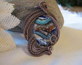 Handmade Copper Wire Wrapped Pendant with Lampwork Glass Focal