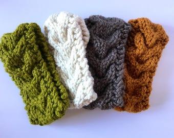 Winter headband Knit brown earwarmer Knit chunky headband Cute winter headband ear warmer Knit braided headband Adult cute headwear