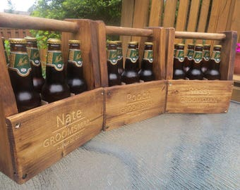 Personalized Beer Totes * Free Engraving * Wooden Beer Totes * Beer Caddy * Groomsman Gifts * Bridesmaids Gifts * Wedding Gifts