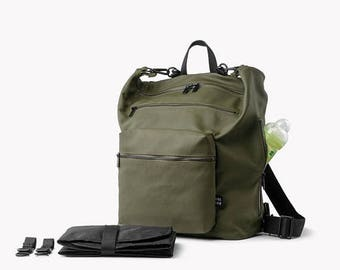 SALE 20.00 USD OFF Diaper bag, Diaper bag Backpack,Khaki Green diaper bag, Changing bag, Stroller bag, Canvas laptop backpack, Baby nappy ba