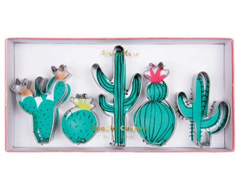 Cactus Mini Cookie Cutters (set of 5), Meri Meri, Mexican Fiesta Birthday, Cacti Cutters, Southwest Party Decor, Wedding Party Favors