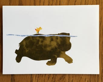 Papa Hippo Card, African card, baby card, kids card, cut paper art, whimsical, african animal card, greeting card children