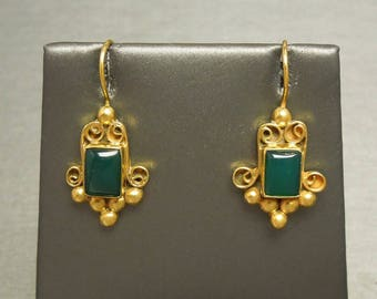 Vintage Estate C1970 Middle Eastern Style 925 Gold Sterling Silver Natural Green Crysoberyl Earrings