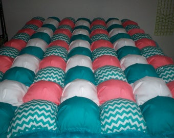 """Puff quilt teal zig-zag, coral, teal, white one of a kind baby crib size 28"""" x 42"""" cotton, with teal fleece minky on back and border"""