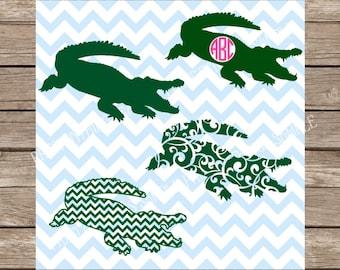 Alligator svg, Gator svg, Monogram svg, svg files for cricut, Crocodile svg, Alligator svg file, animal svg file, hunting svg svg silhouette