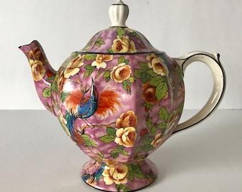 Vintage Baker & Co. Purple Chintz Teapot