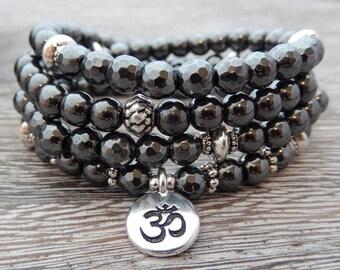 Hematite Mala, Meditation Necklace, 108 Prayer Beads, Grounding Mala, 1st Chakra, Crystal Healing, Pendant of Choice, Reiki Jewelry