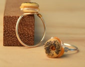 Fish Bagel Knuckle Ring - Poppy Seed Bagel with Lox and Cream Cheese Polymer Clay Food Midi Ring