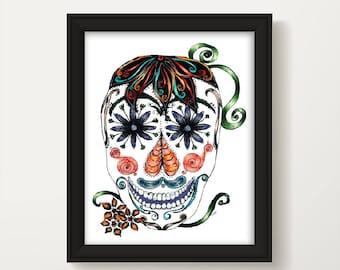 Day of the Dead Wall Art, Dia De Los Muertos, Mexican Day of the Dead, Color Sugar Skull, Home Decor, Halloween Sugar Skull P1048