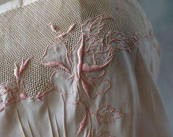 1920s French pink silk embroidered slip, lingerie, wedding, bridal, boudoir,