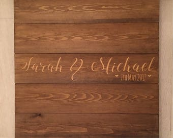 Engraved personalised wooden plaque alternative guest book to sign and hang in your home