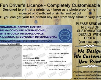 Driving Licence, Driver's Licence, DIY, Digital Download File, Customisable, Party, Photo prop File, Photo Frame File, Photo Booth, car