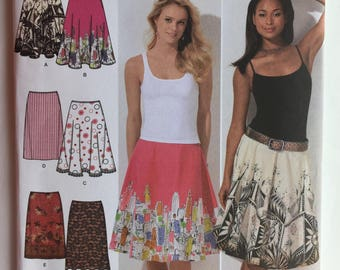 Simplicity Pattern 4236 Six  Made Easy Skirts both Slim and Full and Half Circle with Special Instructions for Pre-Printed Panels size 6-14
