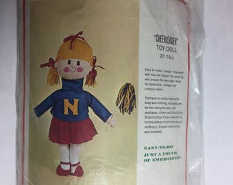 "Bucilla Creative Needlecraft ""Cheerleader"" Toy Doll Kit 1673, Made in USA Easy to Do, 22 inches Tall,"