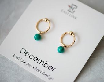 14K gold plated natural stones December Birthstone turquoise stud drop earrings hoop birthday gift