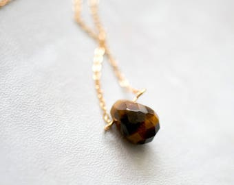 14K gold plated water drop shaped tiger eye natural stone gemstone pendant necklace cut surface by East Link jewellery design
