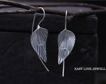 925 sterling silver dedicated vintage style leaf leaves silver wired wire hoop earrings by east link