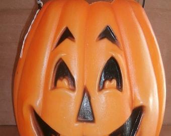 vintage halloween blow mold jack o lantern large pumpkin candy bucket treat - Large Plastic Pumpkins