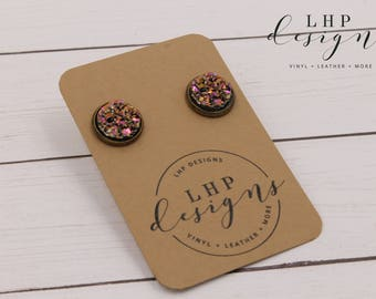 Metallic Rose Gold Faux Druzy Studs in Bronze Bezel