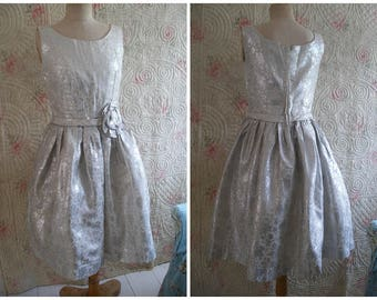 Vintage silver party dress, small