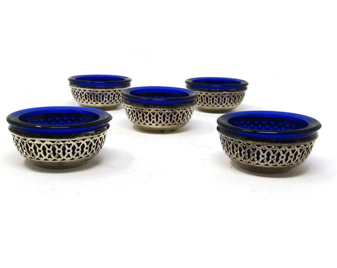 Webster Sterling Silver Salt Cellars with Cobalt Blue Liners - Individual Open Salts & Cobalt Blue Liners - Vintage Serving