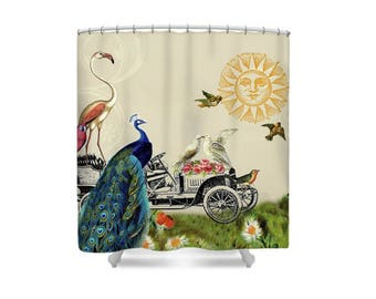 Whimsical Bathroom, Boho Shower Curtain, Bird Shower Curtain, Peacock, Bohemian Bathroom, Bathroom Decor, Whimsical Decor,  Flamingo