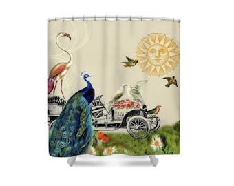 Whimsical Bathroom, Boho Shower Curtain, Bird Shower Curtain, Peacock, Bohemian Bathroom, Bathroom Decor, Whimsical Decor,  Flamingo