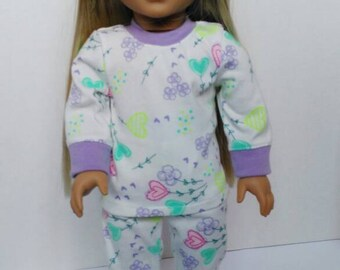Doll pajamas, clothes to fit 18 inch doll and American Girl, doll slumber party, cute doll clothes, made to fit American girl pajamas