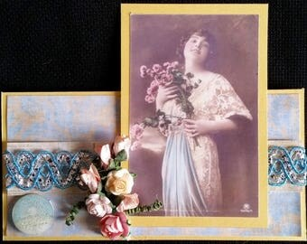 card scrap, retro woman bouquet of flowers, blue