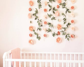 CUSTOM Floral Wall Backdrop - Floral Wall Hanging - Floral Nursery Wall Decor - Birthday Floral Backdrop for Photography - Wedding Backdrop