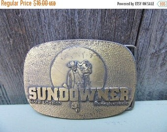 On Sale Vintage Sundowner Brass Buckle Casino 1970s 40s 1980s 80s
