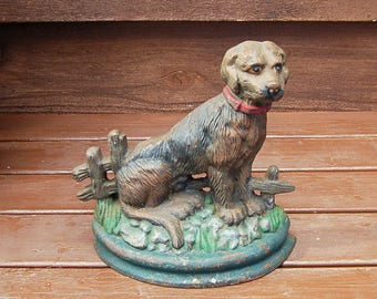 Dog Doorstop, Cast Iron Dog Door Stop, Brown Lab, Painted Dog Doorstop, Cast Iron Sporting Dog