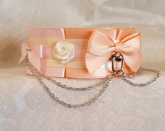Tri-Colored White, Pale Pink and Peach Box Pleated Style Satin Lined Tug Proof Kittenplay Petplay Collar