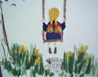 1973 Embroidery of a Pig-tailed Girl on a Swing