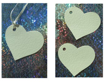 Heart shaped tags with or without ribbon Quality 300gsm Ivory hammer effect card