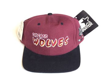 90s STARTER Chicago Wolves Vintage Snapback Strapback hat Adjustable Twill Cap One Size Fits All
