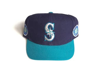 90s Seattle Mariners Blockhead Snapback Snap back cap Strapback hat One Size fits all Adult Unisex Wool annco american needle