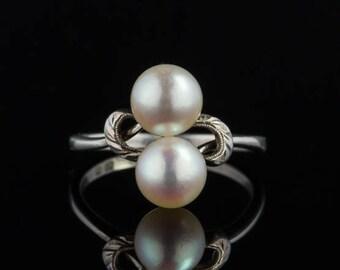 Vintage elegant Mikimoto akoya pearl ring with original box
