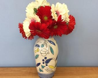 Handmade Envelope Vase. Vine & Blossom Deco. Glazed in Clear and Blue. MA130