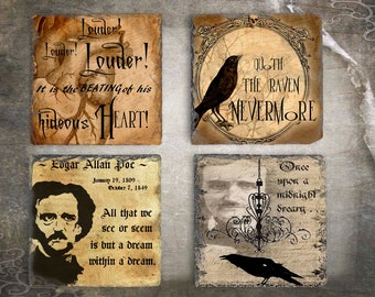 Edgar Allan Poe  Slate Coaster Set, Hostess Housewarming Gift, Slate Drink Coaster Set of Four, Holiday Coaster Set, Birthday Present Idea