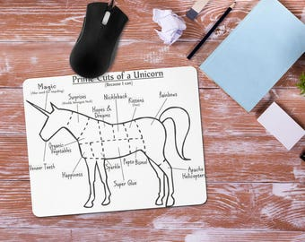 Funny Unicorn Mouse Pad, Unicorn Body Parts Mousepad, Unicorn Office Desk Accessories, Personalized Mouse Pad, Office Supplies