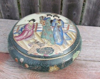 Vintage Royal Satsuma Hand Painted Japanese Porcelain Covered Bowl