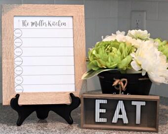Weekly Menu Board Personalized - Chalkboard Menu - Menu Planner - Dry Erase Menu Board