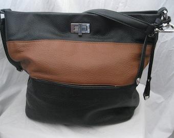 Black and Brown Pebbled Leather Perlina Shoulder Bag
