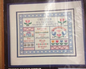 Counted Cross Stitch Kit: Precious Children  or Grandchildren Sampler  - Personalize
