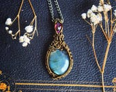 Garnet and Labradorite Pendant - Vintage Brass Handmade Wire Wrap Necklace