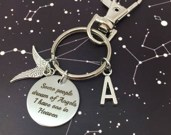 Angels in heaven key ring, personalised. Angel wings, initial monogrammed key chains Keychain keyring gift Memory gift, bereavement gift