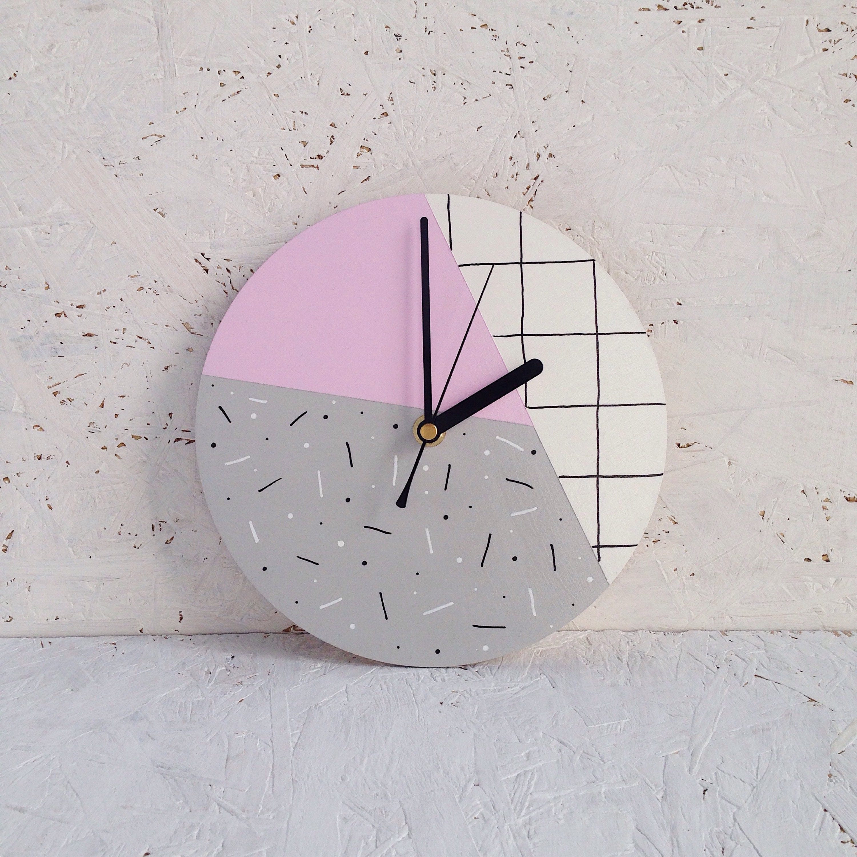 Pastel pink wall clock geometric wall clock pale pink zoom amipublicfo Image collections